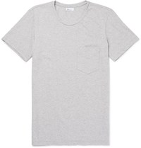 Schiesser Fred Slim Fit Striped Melange Cotton Jersey T Shirt Gray