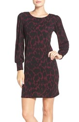 Leota Women's 'Kate' Static Print Jersey Shift Dress Ebony Plum