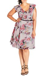 City Chic Plus Size Women's Romance Ruffle Floral Fit And Flare Dress Lipstick Floral