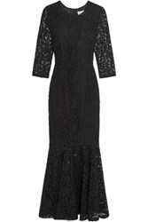 Ainea Fluted Corded Lace Maxi Dress Black