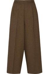 Etro Cropped Stretch Wool Wide Leg Pants Brown
