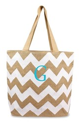 Cathy's Concepts Personalized Chevron Print Jute Tote White White Natural G