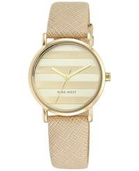 Nine West Women's Natural Leather Strap Watch 33Mm Nw 1864Chnt Gold