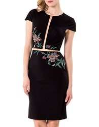 Glamour By Terani Couture Solid Embroidered Dress Black