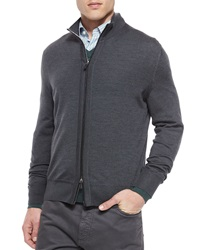 Ermenegildo Zegna High Collar Zip Cardigan Charcoal