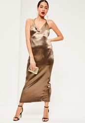 Missguided Bronze Silky Plunge Halter Neck Maxi Dress