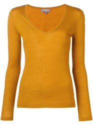 N.Peal Superfine V Neck Sweater Yellow And Orange
