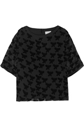 Band Of Outsiders Flocked Chiffon Top Black