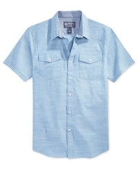 American Rag Short Sleeve Solid Shirt Blue