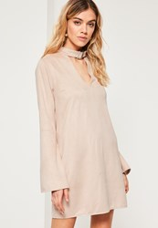 Missguided Nude Buckle Choker Neck Faux Suede Dress