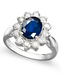 Macy's 14K White Gold Ring Sapphire 2 1 5 Ct. T.W. And Diamond 1 Ct. T.W. Oval Ring
