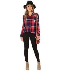 Only Calypso Plaid Fitted Shirt With Lace Back Night Sky Red Checks Women's Long Sleeve Button Up