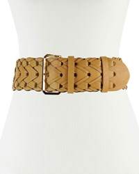 Neiman Marcus 65Mm Wide Braided Faux Leather Belt Black