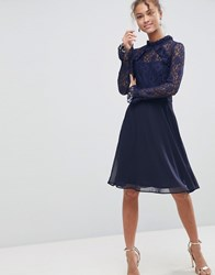 Elise Ryan High Neck Dress With Lace Sleeves Navy