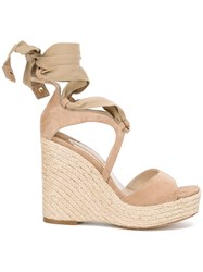 Paloma Barcelo Fay Wedged Sandals Nude Neutrals