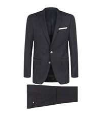 Boss Slim Fit Checked Suit Male Grey
