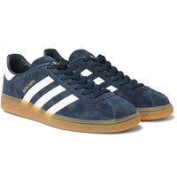 Adidas Originals Munchen Faux Leather Trimmed Suede Sneakers Blue