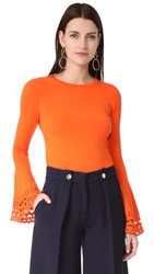 Milly Cutout Flare Sleeve Pullover Orange