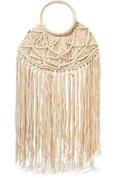 Nannacay Manu Fringed Crocheted Tote Cream
