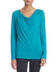 Lord And Taylor Plus Draped Neck Blouse Turquoise