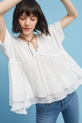 Anthropologie Ruffled And Ruched Blouse White