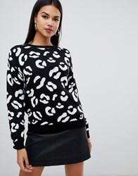 Boohoo Leopard Sweater In Black Black