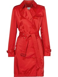 Burberry Detachable Hood Technical Nylon Trench Coat Red