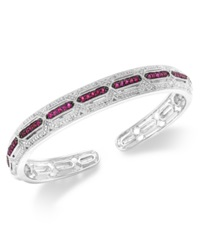 Macy's Ruby 3 4 Ct. T.W. And Diamond Accent Cuff Bracelet In Sterling Silver