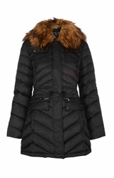 Dawn Levy Faux Fur Collar Jacket With Pockets Black