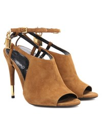 Tom Ford Peep Toe Suede Sandals Brown