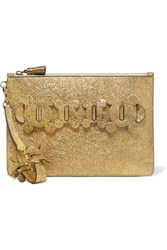 Anya Hindmarch Circulus Large Textured Leather Pouch Gold