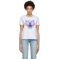 Kenzo White Limited Edition Embroidered Tiger T Shirt 01 White