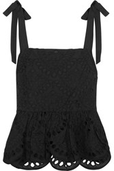 J.Crew Stucco Grosgrain Trimmed Broderie Anglaise Top Black