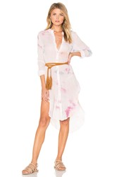 Free People Happiest Morning Button Down Dress Pink