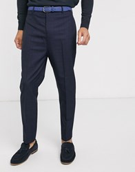 Rudie Cropped Tapered Blue Check Trousers Navy