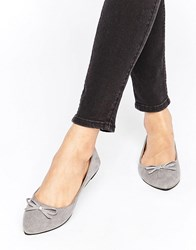 Raid Bow Grey Point Ballet Flats Grey Microfibre