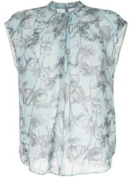 Tomorrowland Floral Sleeveless Top Blue