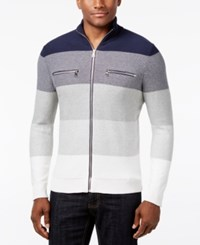 Inc International Concepts Men's Copperfield Striped Zip Front Sweater Only At Macy's Basic Navy