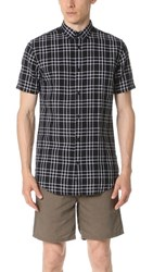 Zanerobe Linen Short Sleeve Shirt Black White
