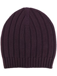 Eleventy Ribbed Detail Beanie Men Virgin Wool One Size Pink Purple
