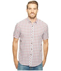 James Campbell Fugit Short Sleeve Woven Check Shirt Red Men's Clothing