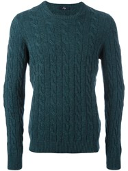 Fay Cable Knit Jumper Green