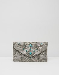 Little Mistress Turquoise And Sequin Clutch Multi