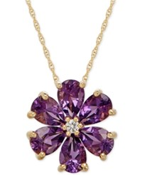 Macy's Amethyst 2 1 10 Ct. T.W. And White Topaz Accent Flower Pendant Necklace In 14K Gold