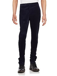 Burberry Ribbed Solid Cotton Pants Ink Blue