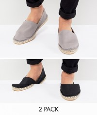 Asos Design Wide Fit Canvas Espadrilles In Black And Grey 2 Pack Save Multi