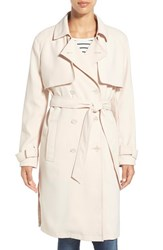 Women's Laundry By Shelli Segal Belted Crepe Long Trench Coat