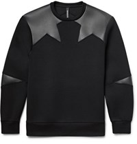 Neil Barrett Faux Leather Panelled Bonded Jersey Sweatshirt Black