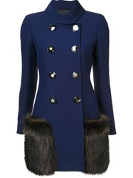 Derek Lam Fur Pocket Buttoned Jacket Blue