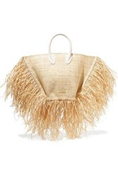 Jacquemus Le Baci Leather Trimmed Fringed Raffia Tote Beige
